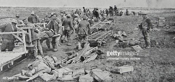Canadian soldiers at the frontline during World war One evacuating injured casualties 1917