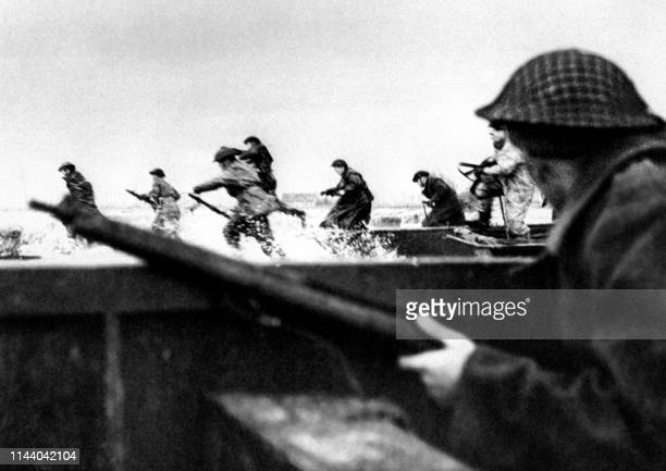 Canadian soldiers land on Courseulles beach in Normandy 06 June 1944 as Allied forces storm the Normandy beaches on DDay DDay 06 June 1944 is still...