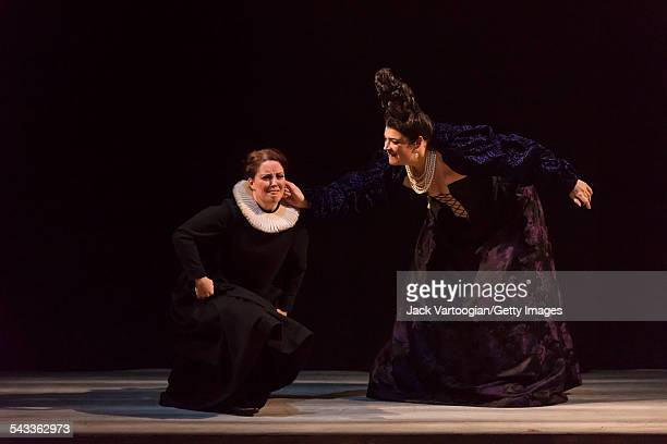 Canadian soprano Katherine Whyte and British contralto Hilary Summers perform during the final dress rehearsal prior to the season premiere of the...