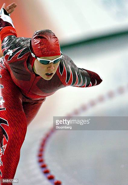 Canadian speed skater Cindy Klassen rounds a corner during the women's 1500 meters at the 2006 Winter Olympics in Turin Italy Wednesday February 22...