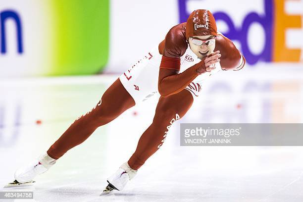 Canadian speed skater Laurent Dubreuil competes in the men's 500m race during the ISU World Single Distance Speed Skating Championships at Thialf...