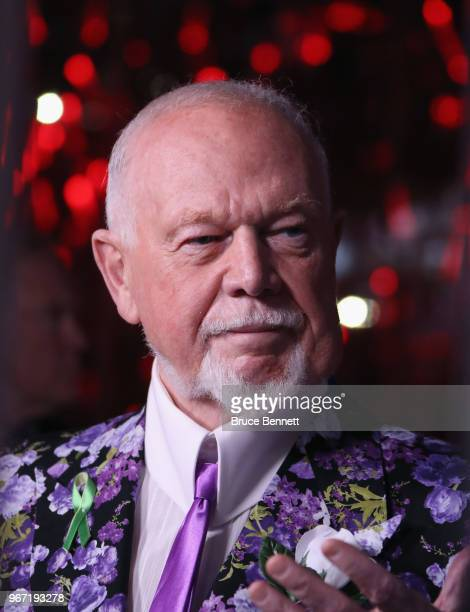 Canadian sports commentator Don Cherry looks on during Game Three of the 2018 NHL Stanley Cup Final between the Vegas Golden Knights and the...