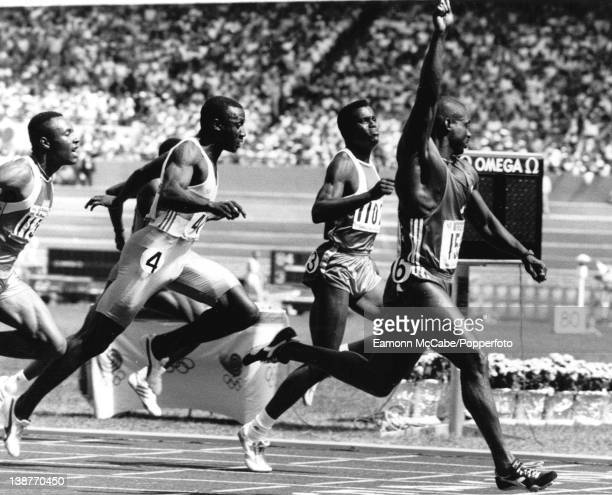 Canadian sprinter Ben Johnson winning the 100 metres sprint at the Olympics in Seoul in record breaking time 24th September 1988 Carl Lewis and...