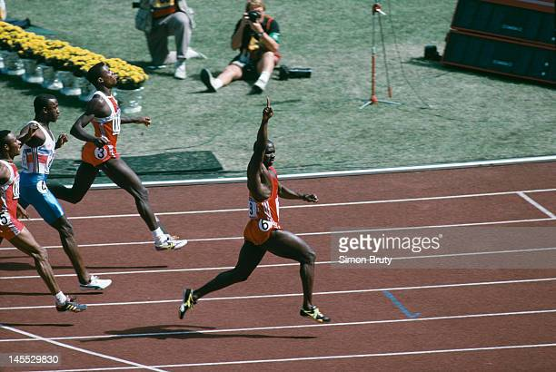Canadian sprinter Ben Johnson wins the 100 metres final at the Seoul Olympics 24th September 1988 However he was later disqualified when traces of...