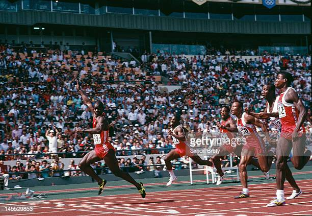 Canadian sprinter Ben Johnson wins the 100 metres final at the Seoul Olympics, 24th September 1988. However he was later disqualified when traces of...