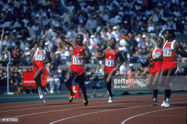 Canadian sprinter Ben Johnson wins the final of the 100 Metres event at Seoul Olympic Stadium during the Olympic Games in Seoul South Korea 24th...