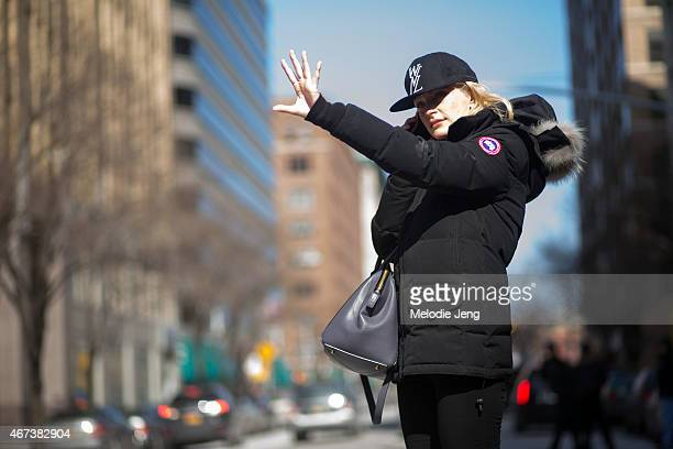 Canadian supermodel Jessica Stam exits the Public School show in a Public School New York cap and Canada Goose coat on Day 5 of New York Fashion Week...