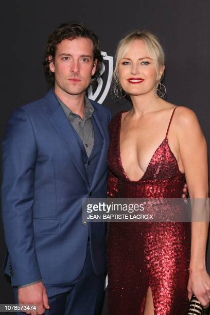Canadian Swedish actress Malin Akerman arrives with a guest for the Warner Bros and In Style 20th annual post Golden Globes party at the Oasis...
