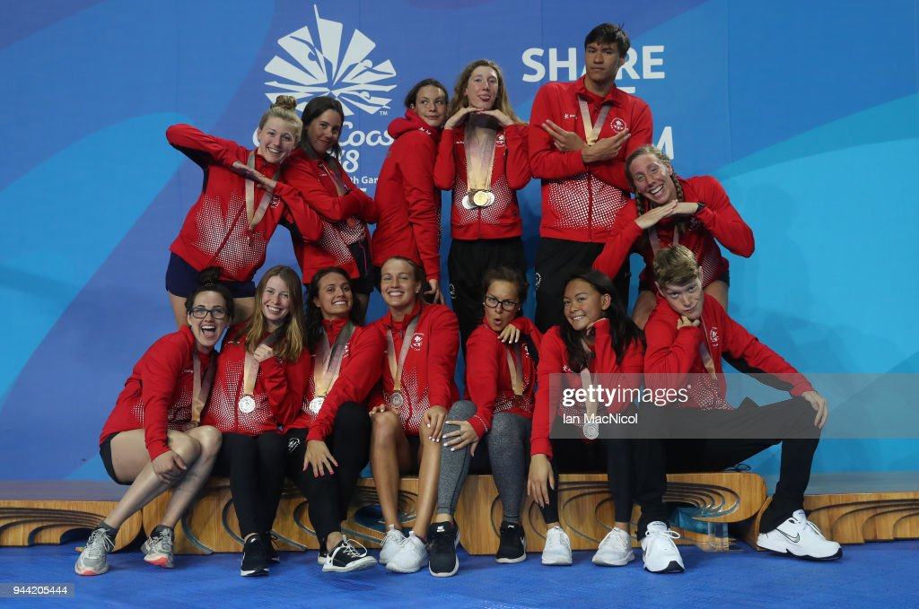 Canadian swimmers pose with their medals which they won in the pool, on day six of the Gold Coast 2018 Commonwealth Games at Optus Aquatic Centre on April 10, 2018 on the Gold Coast, Australia.