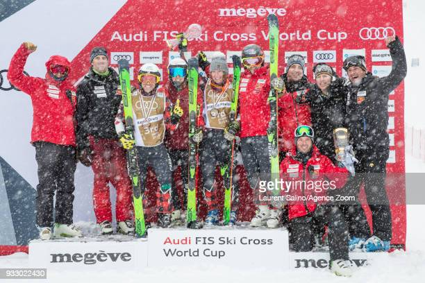 Canadian team wins the globe in the discipline standings during the FIS Freestyle Ski World Cup Men's and Women's Ski Cross finals on March 17 2018...