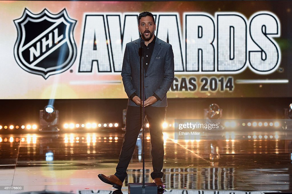 Canadian television and radio personality George Stroumboulopoulos onstage during the 2014 NHL Awards at the Encore Theater at Wynn Las Vegas on June 24, 2014 in Las Vegas, Nevada.
