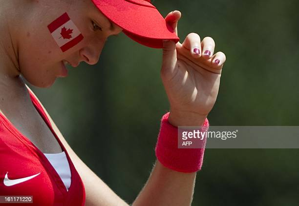 Canadian tennis player Eugenie Bouchard reacts during her International Tennis Federation Fed Cup Americas Zone Group 1 match against Teliana Pereira...
