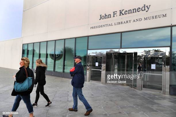 Canadian tourists turn back from the entrance to the John F Kennedy Presidential Library and Museum in the Dorchester neighborhood of Boston after...