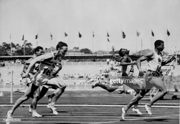 Canadian track and field runner Harry Jerome winning the 1st heat of the men's 100 yards at the British Empire and Commonwealth Games Perth Australia...