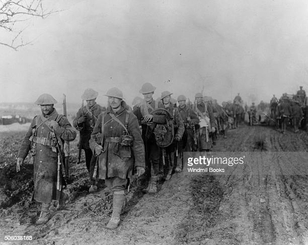 Canadian troops returning from the trenches November 1916 Battle of the Somme British Front France '16 General Battle Somme