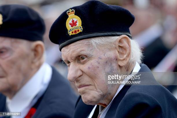 A Canadian veteran looks on during the international ceremony on Juno Beach in CourseullessurMer Normandy northwestern France on June 6 as part of...
