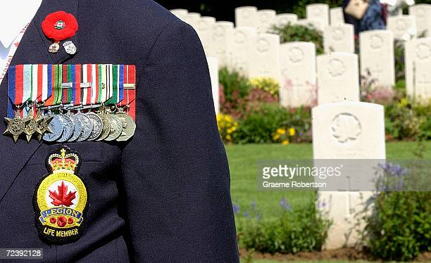 Canadian war veterens attends a memorial service in the Canadian War Cemetery on June 6, 2003 near Juno Beach at Beny-sur-Mer/Reviers, Normandy,...