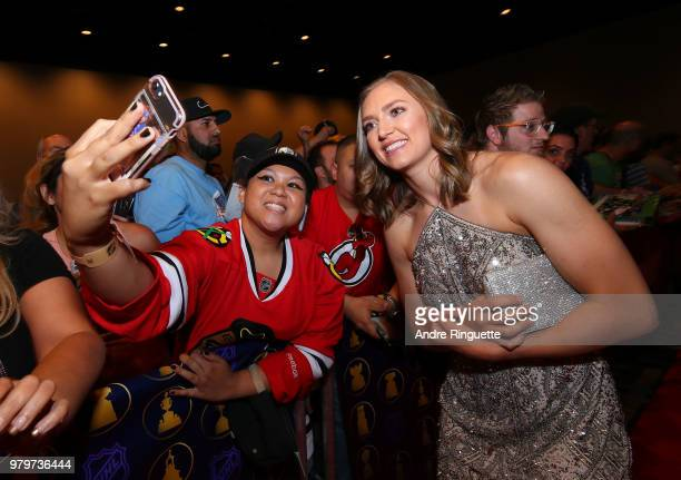 Canadian Women's National Hockey Team player Brianne Jenner arrives at the 2018 NHL Awards presented by Hulu at the Hard Rock Hotel Casino on June 20...