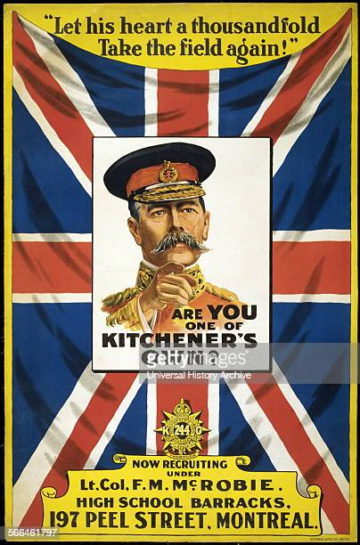 Canadian World War I recruitment poster 'Are you one of Kitchener's own' Shows an image of Lord Kitchener 18501916