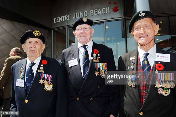 Canadian World War II veterans take part in a ceremony at the Juno Beach centre in CourseullessurMer on June 6 during the commemoration of the 69th...