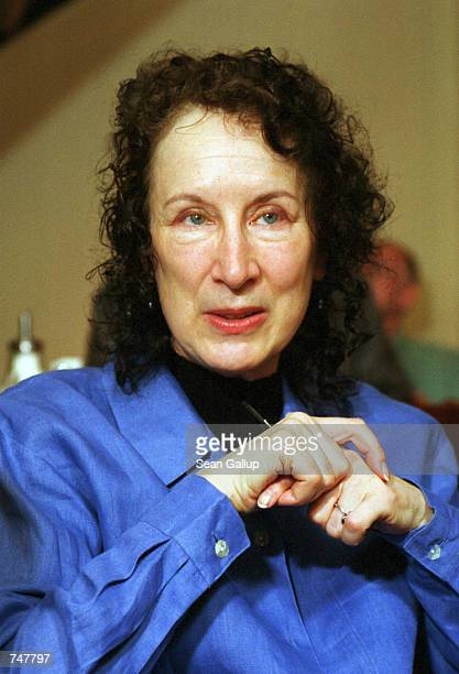 Canadian writer and poet Margaret Atwood author of 'The Handmaid's Tale' speaks during a book signing at the Globe Bookstore in Prague Czech Republic...