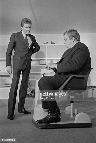 CanadianAmerican actor Raymond Burr testing the Chairmobile a batterypowered mobility aid for the disabled designed by Antony ArmstrongJones 1st Earl...