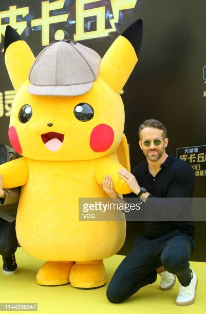 CanadianAmerican actor Ryan Reynolds attends a press conference of film 'Detective Pikachu' on April 21 2019 in Beijing China