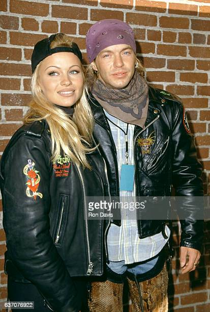 CanadianAmerican actress and model Pamela Anderson and American singersongwriter and musician Bret Michaels arrive before the Love Ride 11 To Benefit...