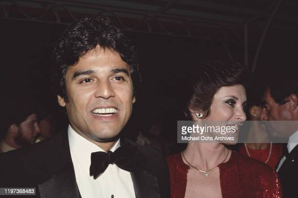 CanadianAmerican actress and writer Beverly Adams Sassoon the former wife of hairstylist Vidal Sassoon with actor Erik Estrada at an event for the...