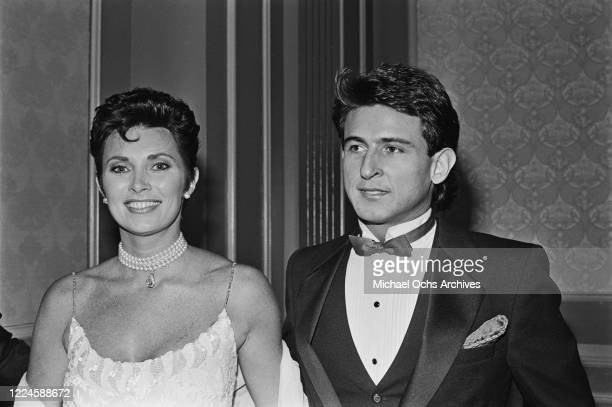 CanadianAmerican actress Beverly Adams formerly Beverly Sassoon with her boyfriend during the 14th Annual Nosotros Golden Eagle Awards at the Beverly...
