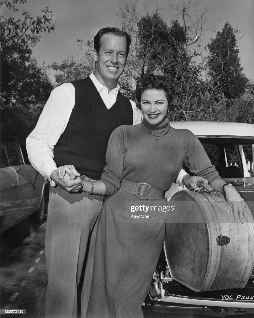 Canadian-American actress Yvonne De Carlo (1922 - 2007) and her husband, actor and stuntman Bob Morgan, leave for their honeymoon after a surprise wedding in Reno, Nevada, 1955.