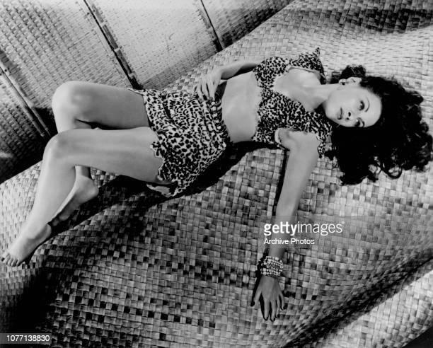 CanadianAmerican actress Yvonne De Carlo wearing a leopard fur bikini circa 1950