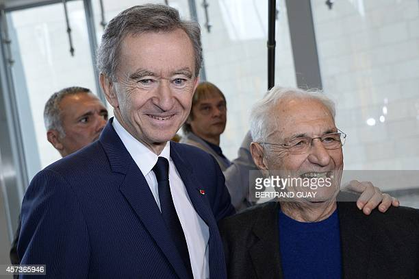 CanadianAmerican architect Frank Gehry and Luxury group LVMH CEO Bernard Arnault pose at the Louis Vuitton Foundation in the Bois de Boulogne in...