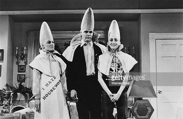 CanadianAmerican comedian Dan Aykroyd with actresses Jane Curtin and Laraine Newman as The Coneheads in a sketch from the TV comedy show 'Saturday...