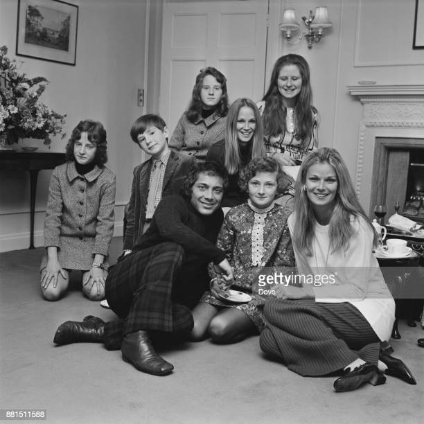 CanadianAmerican singersongwriter and actor Paul Anka with his wife Anne De Zogheb and relatives in London UK 11th January 1971