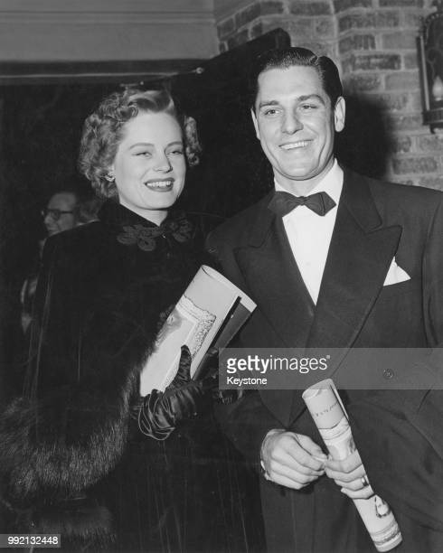 Canadianborn actress Alexis Smith and her husband actor Craig Stevens at the premiere of the film 'The Paradine Case' in Westwood Village Los Angeles...