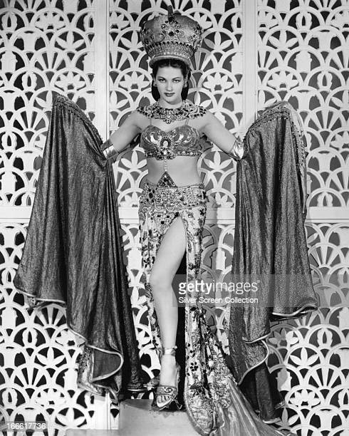 Canadianborn American actress Yvonne De Carlo wearing an exotic costume in a publicity portrait for 'Song of Scheherazade' directed by Walter Reisch...