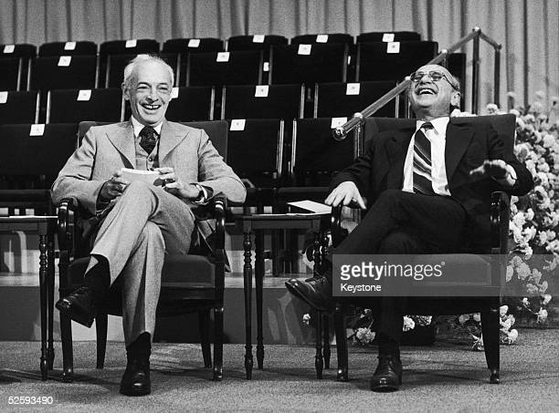 Canadian-born American novelist Saul Bellow with the laureate for economics, Professor Milton Friedman, shortly after they were awarded the Nobel...