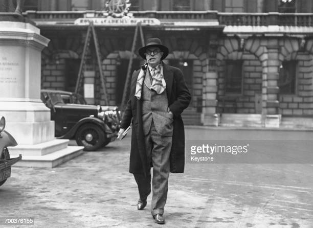 Canadianborn British painter and writer Percy Wyndham Lewis outside Burlington House in London following the rejection by the Royal Academy Committee...