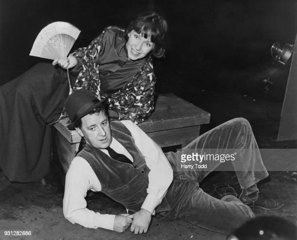 Canadianborn broadcaster Bernard Braden and American actress Betsy Blair rehearse a scene for the revue 'Spoon River' at the Royal Court Theatre...