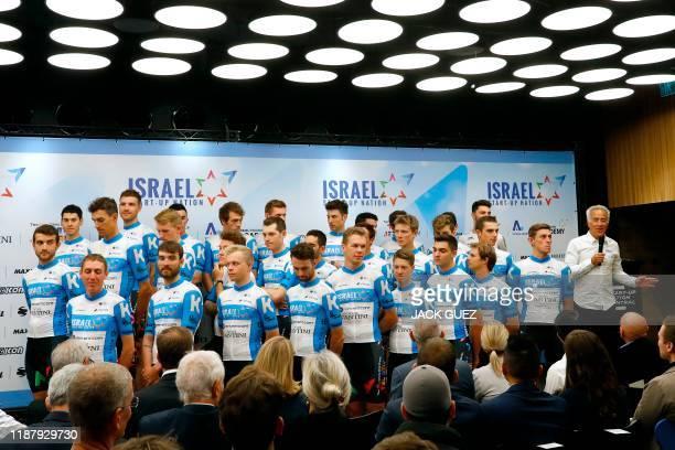 CanadianIsraeli billionaire Sylvan Adams introduces the new Startup Nation team for the Tour de France on December 11 2019 in Tel Aviv Israel...