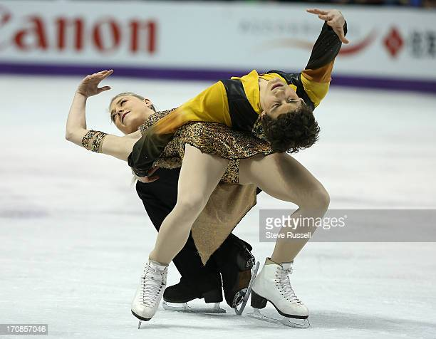 Canadians Piper Gilles and Paul Poirer skate during the Ice Dance Free Skate program at the ISU World Figure Skating Championships at Budweiser...