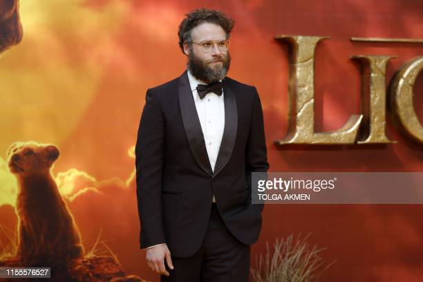 Canadian-US actor Seth Rogen poses on the red carpet upon arriving for the European premiere of the film The Lion King in London on July 14, 2019.