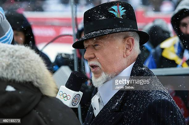 Canadien hockey broadcaster Don Cherry does an interview next to the outdoor rink during the 2014 Bridgestone NHL Winter Classic between the Toronto...