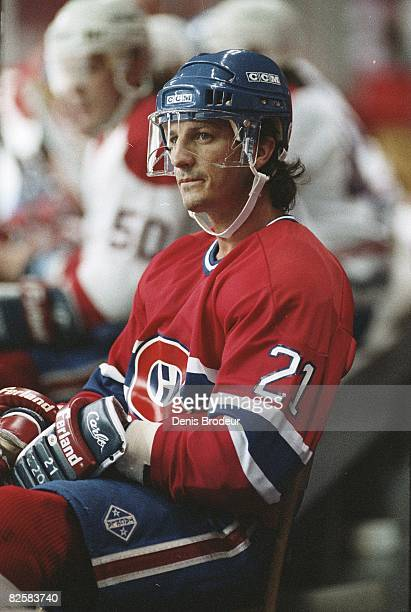 Canadiens forward Guy Carbonneau during practice at the Montreal Forum during the early 1990ss