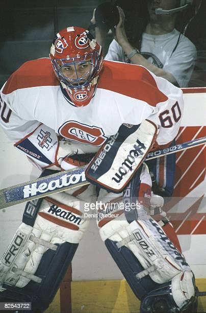 Canadiens goaltender Jose Theodore in a game at the Molson Centre during the 199697 season
