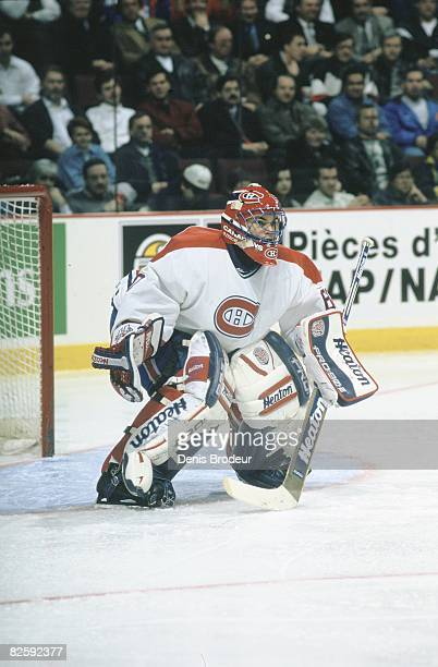 Canadiens goaltender Jose Theodore in a game at the Molson Centre during the late 1990s