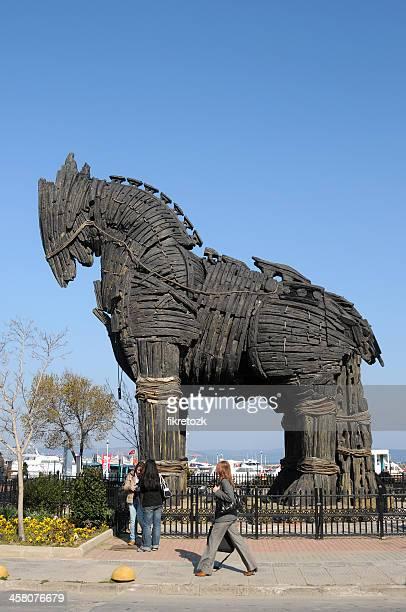 canakkale provincia in legno e cavallo di troia - cavallo di troia foto e immagini stock