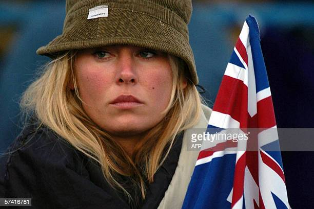 An Australian women is seen at the dawn service in Anzac Cove during the commemoration of the Gallipoli War on Gallipoli peninsula, Turkey, early 25...