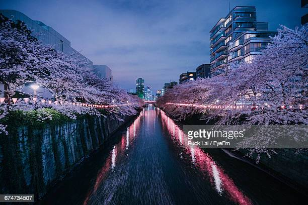 Canal Amidst Illuminated Trees And Buildings Against Sky In City
